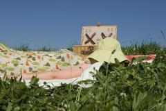 Stock Photo of young woman lying on picnic blanket, hat on face