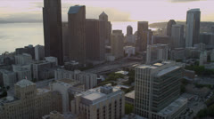 Aerial downtown view of Seattle Business and Finance Center, USA - stock footage