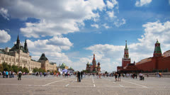 Moscow, Russia, Red Square general view at sunny day, time-lapse. Stock Footage