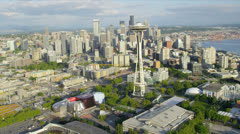 Aerial view Space Needle observation tower, Seattle, USA Stock Footage
