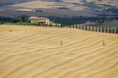 Italy, Tuscany, Harvested corn field, farmstead in background Stock Photos