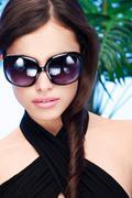 woman with big sun glasses - stock photo