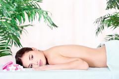 woman resting after massage - stock photo