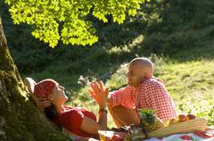 Stock Photo of couple having picnic under tree
