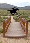 The legendary pony express of the past. Stock Photos