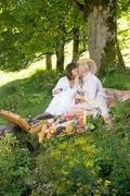 Couple having picnic under tree, kissing Stock Photos