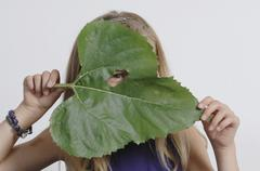 Girl (10-11 Years) holding leaf in front of face Stock Photos