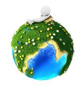 3d white people relaxed on green earth - stock illustration