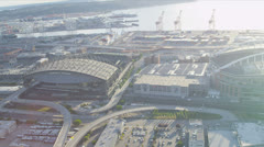 Aerial view Safeco Field, CenturyLink Baseball Stadium Seattle, USA Stock Footage