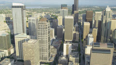 Aerial city view downtown financial district Seattle, USA Stock Footage