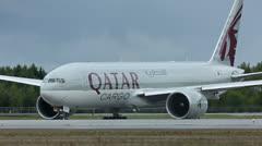 Boeing 777 Qatar Cargo Stock Footage