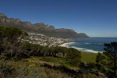 Camps Bay from Table Mountain - stock photo