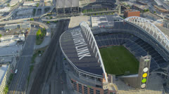 Aerial view CenturyLink Field Baseball Stadium Stock Footage