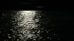 Dark mystical River with boat passing by Stock Footage