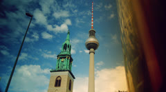 Fernsehturm (Television Tower) located at Alexanderplatz in Berlin, Germany Stock Footage
