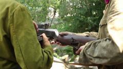Two soldiers with machine gun. Soviet army uniform Stock Footage