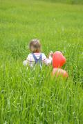 girl ( 3-4 ) holding bunch of balloons, walking in meadow, rear view - stock photo