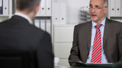 Personnel officer in a job interview Stock Footage