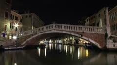 Venice, Italy Bridge Time-lapse Night Stock Footage