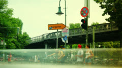 The Oberbaumbrucke bridge connects the districts of Kreuzberg and Friedrichshain Stock Footage