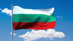 Bulgarian flag waving over a blue cloudy sky Stock Footage