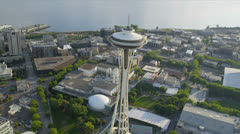 Aerial view Space Needle Observation Tower, Seattle Stock Footage