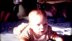 8mm 1960s cute Baby laying on the floor cat in background Stock Footage