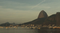 Sugarloaf, Urca Hill, Boats and Kayak in Botafogo Bay, Rio de Janeiro, Brazil. Stock Footage