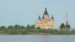 Alexander nevsky cathedral in nizhny novgorod Stock Footage