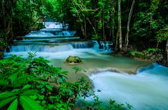 Huay mae khamin - waterfall, flowing water, paradise in thailand. Stock Photos