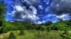 HDR Time Lapse. Mangoup Beauty In The Clouds Stock Footage