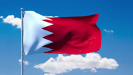 Stock Video Footage of Bahraini flag waving over a blue cloudy sky