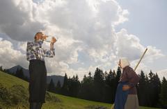 austria, salzburger land, hay harvest - stock photo