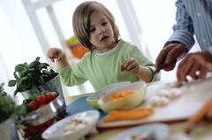 Stock Photo of Boy (4-5) and father preparing meal