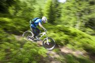 Stock Photo of France, Porte du Soleil, Savoien, Mountainbiker riding bike speedy in funpark