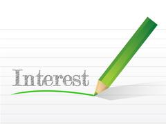 Stock Illustration of interest written on a notepad paper