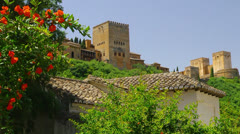 Stock Video Footage of Establishing shot. Alhambra, ancient muslim fortress in Granada, Spain..