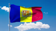Andorran flag waving over a blue cloudy sky Stock Footage