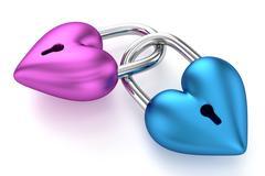 3D Heart Padlocks Stock Illustration