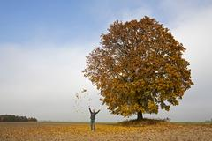 Germany, Bavaria, Man throwing leaves into air Stock Photos