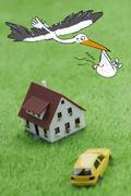 Stork bringing a baby Stock Illustration