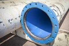 Pipe flanges from water city supply Stock Photos