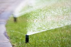 Sprinkler head watering the grass Stock Photos
