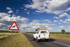 Africa, Botswana, Land vehicle passing through trans-kalahari highway with road - stock photo