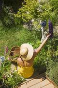 Woman with sun hat in the garden, top view Stock Photos