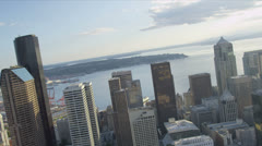 Aerial view Downtown Seattle office and financial districts, USA Stock Footage
