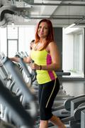 on the treadmill - stock photo