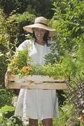 Austria, Salzburger Land, Woman carrying wooden box with plants - stock photo