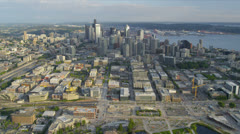 Aerial view Downtown Seattle office and financial districts Stock Footage