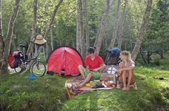 Austria, Salzburger Land, Couple having a picnic - stock photo
